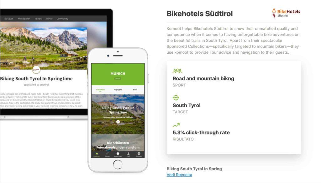 Esempio di Raccolta sponsorizzata: Bikehotels Südtirol.