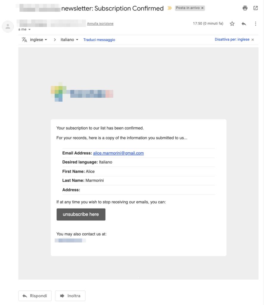 Esempio di email di avvenuta registrazione