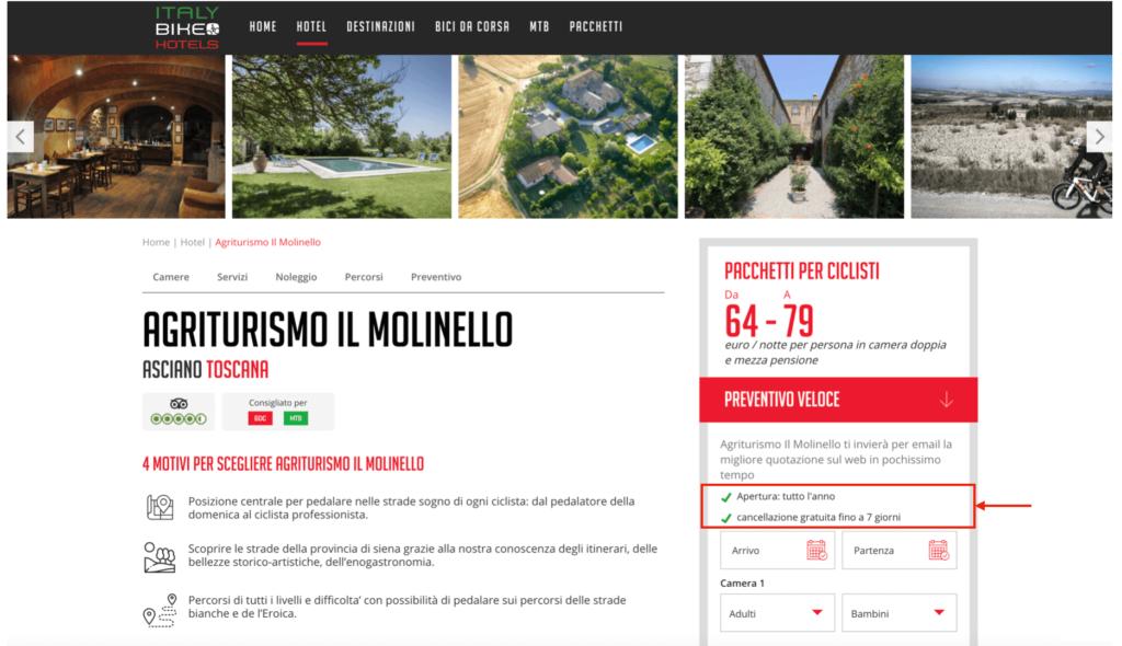 Adeguamento scheda hotel Italy Bike Hotels nella nuova normalità